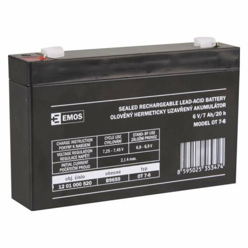 Gondozásmentes akkumulátor Zselés 6V / 7,2Ah / 20hr