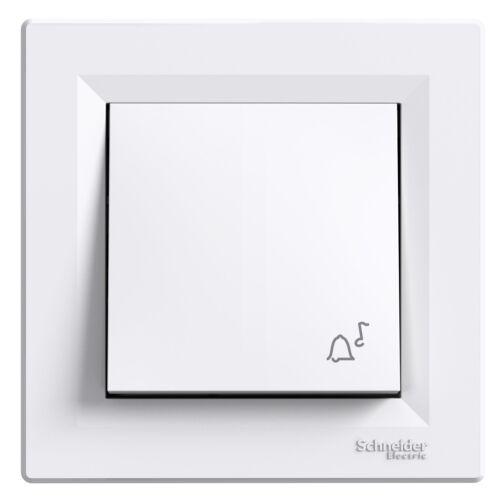 ASFORA N-101 egypólusú nyomó csengő jellel kerettel fehér (0800121)