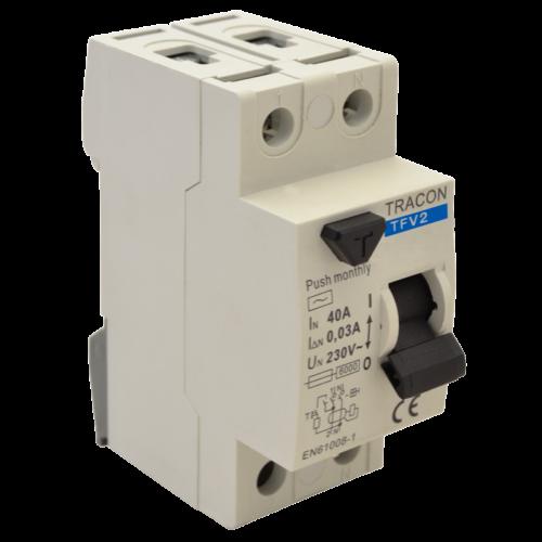 TRACON TFV2-40100 (Fi-Relé) 2P. 40A 100mA Áramvédő kapcsoló