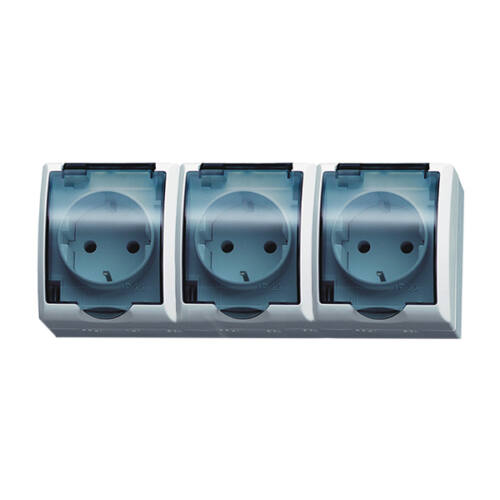 FALA 3x2+F falon kívüli vízmentes földelt csapfedeles 3-as dugalj IP44 (105221)