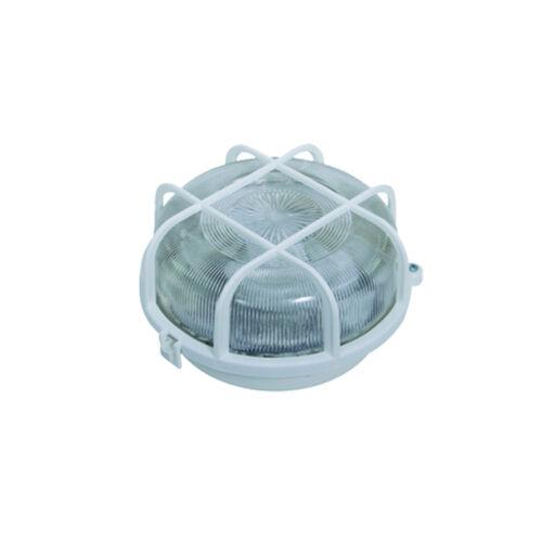 Hajólámpa kerek, műanyag rácsos, üvegbúrás, max. E27 60W, IP44 (231042)