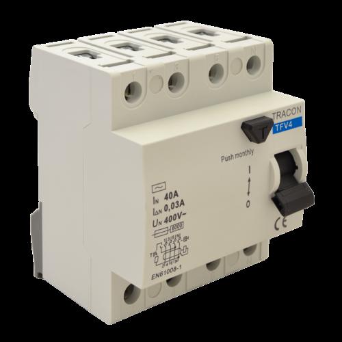 TRACON TFV4-25100 (Fi-Relé) 4P. 25A 100mA Áramvédő kapcsoló