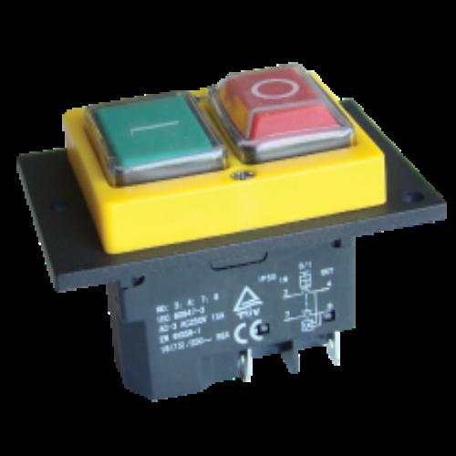 Relés biztonsági kapcsoló PIROS-ZÖLD fekete kerettel 4pin, 12A, IP54 TRACON (SSTM-02)