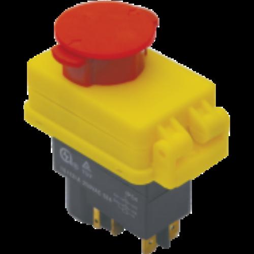 Relés biztonsági kapcsoló vészgombbal, retesszel 4pin, 12A, IP54 TRACON (SSTM-01)