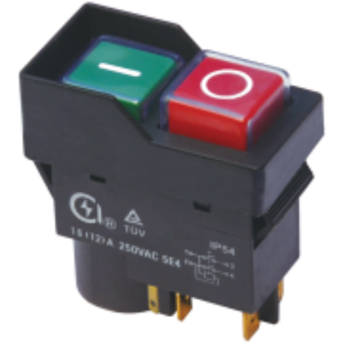 TRACON SSTM-035 PIROS-ZÖLD, fekete kerettel 5pin, 12A, IP54 Relés biztonsági kapcsoló