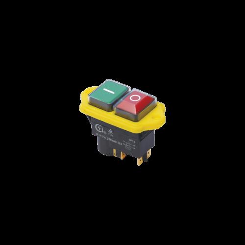 TRACON SSTM-04 PIROS-ZÖLD, sárga kerettel 4pin, 12A, IP54 Relés biztonsági kapcsoló