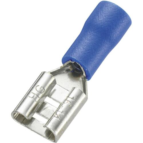 TRACON TR-KCSH6 2,5 mm2 6,35×0,8mm szigetelt hüvely kék Csúszósaru