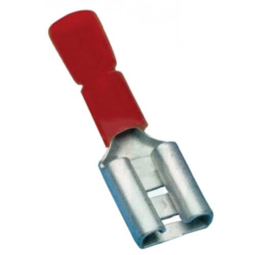 Csúszósaru hüvely teljesen szigetelt piros 0,5-1 mm2 6,3x0,8 mm PTCSH6
